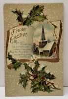 Christmas Greetings Gold Gilded Church Holly Berry Germany Postcard B14