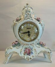 Dresden Mercedes Footed Shelf Mantle Clock - Hand-Painted - Raised Pink Roses