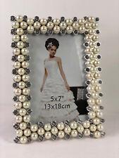 Bilderrahmen mit Weiße Perlen Strass Steine Foto Fotorahmen Bilder 13x18 Silber