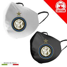 Mascherina Cotone Inter calcio Personalizzata 100% Made in Italy adulto bambino