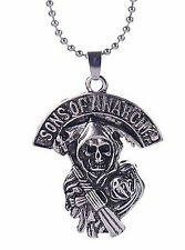 Silver Necklace Gift for Boy Girl Sons of Anarchy Death Skeleton Vintage Antique