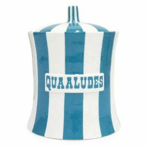 Jonathan Adler Vice Quaaludes Canister , Teal/White