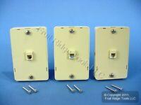 3 Leviton Ivory Wall Mount Jack Mounting Plates w/SIDE TELEPHONE JACKS C2655-I