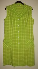 Vintage 60's Lime Green Windowpane MOD Scooter Sheath Dress L/XL