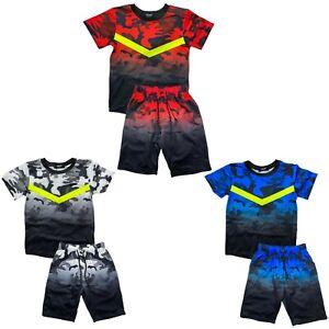Boys T-Shirt Short Set Neon Camo Kids Camouflage Summer Short Outfit Cotton