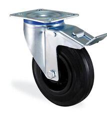Roulette pivotante à frein caoutchouc noir 200mm charge 220kg