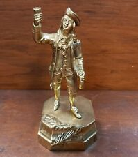 Late 19th Century English Victorian Man Toasting Gilt Brass Figurine