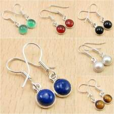 925 Silver Plated GREEN ONYX & Other Gemstone WELL MADE PRETTY Earrings NEW