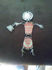 VTG Bottle Caps Girl Woman Pewter Charm with Purse UNIQUE Budweiser Cherry Soda