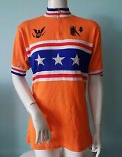 Vintage Lafayette neon orange Blue Star wool Colorblock Cycling Jersey shirt top