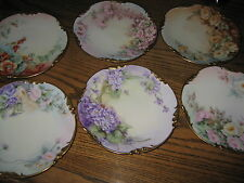 Antique J P L France Hand Painted Plates SIX Jan 23 1906 over 100 YEARS OLD