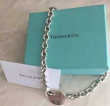 Authentic Tiffany & Co. Oval Tag Silver Choker-Chain Link Necklace-EUC