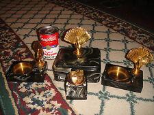 Art Deco Cigarette Box Ashtrays Lighter Vanity Set-Poker Hand Playing Cards-RARE