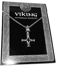 Icelandic Wolf / Dragons Head Cross Pendant (Thors Hammer Viking Necklace Chain)