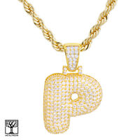 """P Initial Custom Bubble Letter Gold Plated Iced CZ Pendant 24"""" Chain Necklace"""