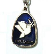 Blue Jerusalem Keychain White Dove of Peace Key Ring, Israel, Holy Land Souvenir