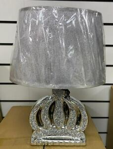 New Crushed Diamond Silver LED Table Lamp Flower Style With Shade Glitter Romany