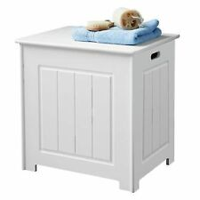 Storage Chest White Organise Bathroom Hinged Top Lid Laundry Basket 51x51x40cm