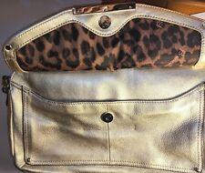 NEW B Makowsky Champagne Leather Shoulder Bag Double Zip & Side Envelope $238