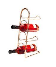 Pisa Freestanding Metal Copper 4 BOTTLE WINE RACK Kitchen Stand Bottle Storage
