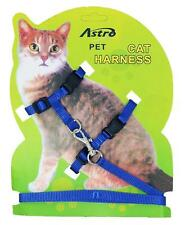 Blue Adjustable Nylon Pet Cat Harness and Leash ~ Kitten Belt Collar with lead