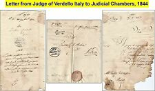 OLD LETTER 1844 by Judge of Verdello to Judicial Chamber (Fragmented+Fragile)-22