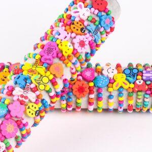 Wholesale 20pcs Handmade Kids Children Wood Cartoon Animal Bead Bracelets Toy