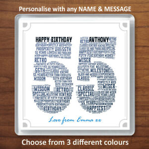 55th Birthday Personalised Word Art Drinks Coaster Gift Present 55 Fiftyfive