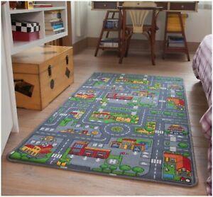 Children's Rugs Town Road Map City Rug Play Village Mat 80x120cm Fun Infant Mats
