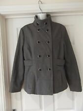 Size 12 Grey Wool Coat by Atmosphere Waist Length Button Front Funnel Neck Smart