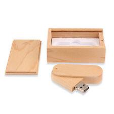Swivel Wood Box 16GB 32GB USB2.0 Flash Memory Stick Pen Drive Storage U Disk