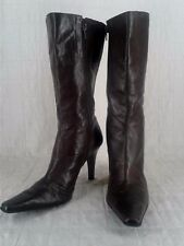 GIANNI BINI Brown Burgundy High Heel Mid Calf Boots Women's 8.5 M Pointed Toe