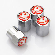 4 x Silver Chrome Tyre Valve Dust Caps (Fits VAUXHALL) - RED