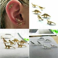 3 Pairs Fashion Gold Silver Dinosaur Earrings Cute Ear Stud Set Unisex Jewelry