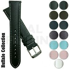 Genuine Buffalo Grain Leather Watch Strap Band Mens Padded Stainless SS Buckle