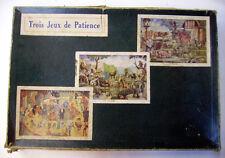 BOITE DE 3 PUZZLES ANCIENS en bois - LA FERME / LE ZOO / LE CIRQUE
