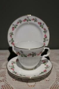 Crown Trent Vintage Floral Gilt Trio - Cup Saucer Plate - Pink Rose Buds - Vgc