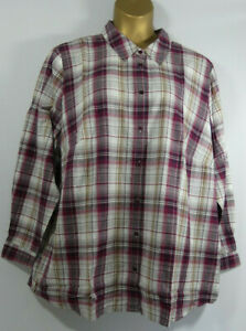 Ladies Pink Check Long Sleeve Checked Shirt  Plus Size 38  LTJul31-8