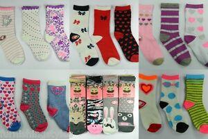 6 Pairs Girls Children's Kids Socks Designer Character All Sizes