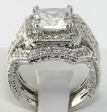 Elite Vintage 4 CT. Princess Cut CZ Bridal Engagement Wedding Ring Set - SIZE 8