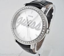 NEW GUESS LOGO DIAL,BLACK LEATHER STRAP+CRYSTALS WATCH-G76072L