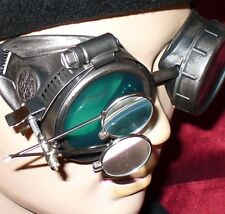 Steampunk Goggles Glasses magnifying lens Pewter Green novelty biker motorcycle