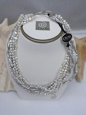 Honora Torsade Pearl Necklace WHITE/GREY BAROQUE/LIQUID 7 -Strand Sterling NEW