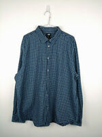 Mens Shirt H&M Size 2XL Blue Check Long Sleeve 100% Cotton Button Up Casual Top