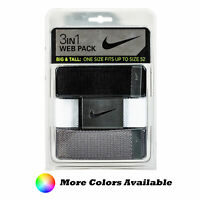 """Nike Golf Men's 3 in 1 Web Pack Belts, Fits Up To 52"""" - Big & Tall"""