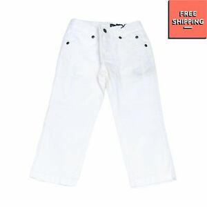 JECKERSON Gabardine Trousers Size 2Y Stretch White Embroidered Logo Zip Fly