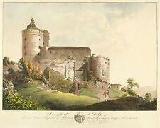 STOLPEN - Burg Stolpen - Wizani - kolor. Umrissradierung 1800