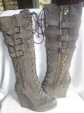 CO-OP Barneys New York Buckle Knee Boot GRAY OLIVE SZ 36 $745