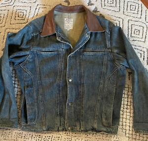 Robert Comstock Italy  denim leather collar jean jacket Medium