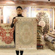 Yilong 2'x3' Small Hand Knotted Silk Carpets Traditional Area Rug Y430B